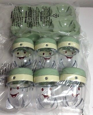 6 Baby Bullet Food Storage Jars Cups Containers Date Dial & Tray NEW