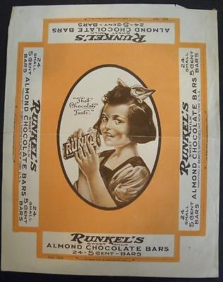 Runkel's Sweet Milk Almond Chocolate Bars*box Wrapper/label*24-5 Cent Bars*candy