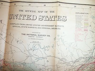 Official Map of The United States of America - The National Survey Co. 1916