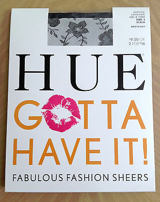 New Womens HUE Control Top Pantyhose, Black Floral Pansy SIZE 1