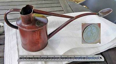 Vintage Solid Copper & Brass Small Watering Can c/w Rose by HAWS Garden Old Tool