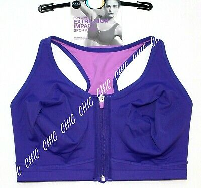 M&S Collection Non Wired Extra High Impact Zip Front Sports Bra BNWT Violet Mix