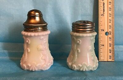 Victorian Salt Shakers- Scroll & Vine - White Opaque Glass - Pink / Green Wash