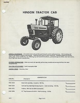 Ford Tractor Service Bulletin 1947 Plus Hinson Tractor Cab Ford Commander 6000