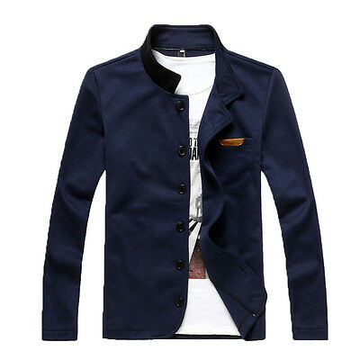 Mens Slim Fit Button Blazer Casual Coat Sweater Cardigan Jacket Outwear navy XL