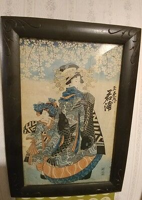 Antique Chinese Geisha Girls Water Color Painting Framed Signed Rice Paper