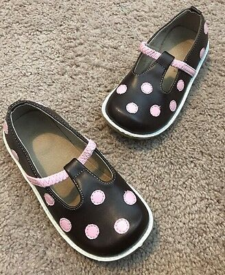EUC Puddle Jumpers Leather Shoes Brown & Pink Size 11 Toddler Girl