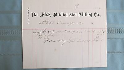 1892 Central City Colorado Fisk Mining Company Underground Miners Lease Payment
