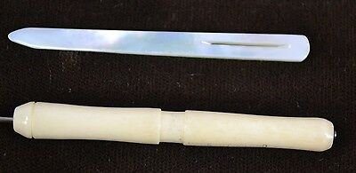 sewing bodkin needle MOP hook Mother Pearl carved cattle bone antique 1800
