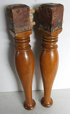 "Pair Of Antique Mahogany Stool Bench Furniture Legs  17"" High"