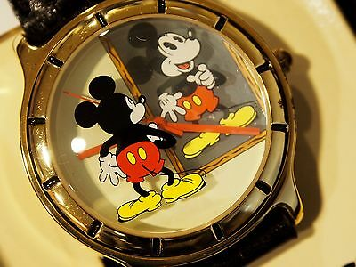 Mickey Mouse Mirror Image Watch Wbox Time Works Reflection  Rare Nice & Htf