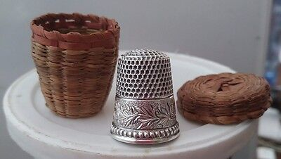 Ketcham & McDougall (KMD) Sterling Silver Flowered Thimble w/ wicker holder sz 8