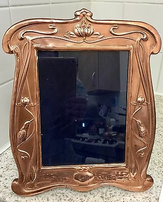 LARGE Rare Copper Art Nouveau Picture Frame With Kingfishers & Wooden Back C1910