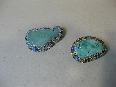 2 ANTIQUE CHINESE CARVED  GREEN JADE & SILVER  PIN BROOCHS 19.7 grams