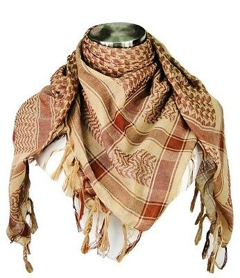 Premium Shemagh Head Neck Scarf - Brown/Camel - NEW - FREE SHIPPING!