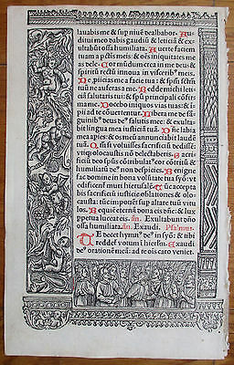Book of Hours Leaf Hardouin Woodcut Rare Apocalypse Ornament - 1510