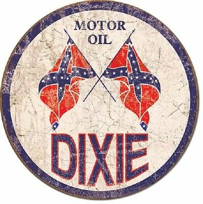 "Dixie Motor Oil Co. 12"" Round Vintage Style Metal Signs Man Cave Garage Decor 69"