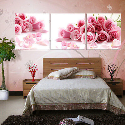 New Modern Wall Art Home Decor Rose Flower Oil Painting On Canvas Print No Frame