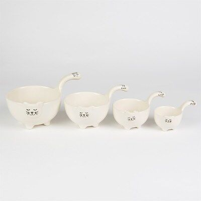 SET OF 4 KITTY CAT MEASURING CUPS American Stoneware Boho Shabby Chic Paris Cute