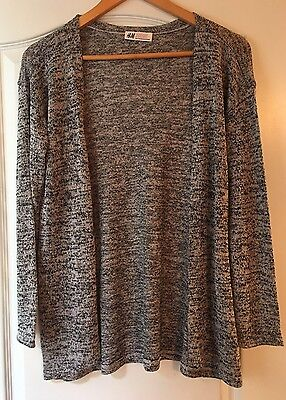 Girls Black And White Long Sleeve Knit Cardigan Size 10-12Y