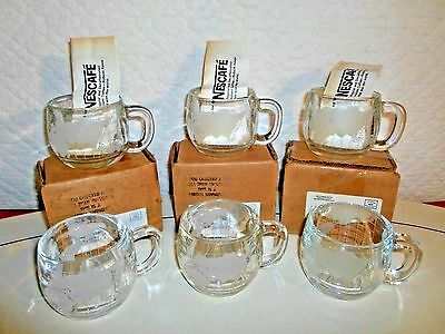 Set Of 6 Vintage Glass Nescafe World Coffee Cups