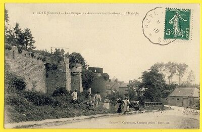 cpa ROYE (Somme) Belle Animations en 1910 REMPARTS FORTIFICATIONS Bastion