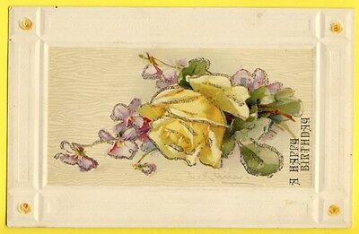 Splendide Post Card NEW ART GERMAN AMERICAN LITHO ROSE et VIOLETTES signée KLEIN