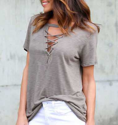 Summer Womens V Neck Lace Up T-Shirt Short Sleeve Loose Tops Casual Blouse