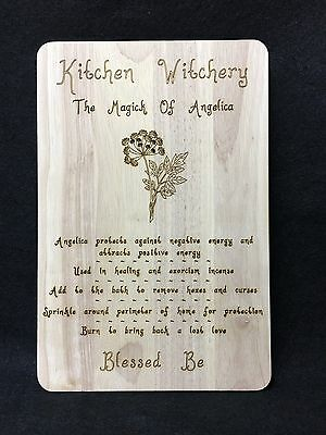 Handcrafted Wooden Kitchen Board with Magical Herbs ~ Angelica ~ Pagan ~ Wicca