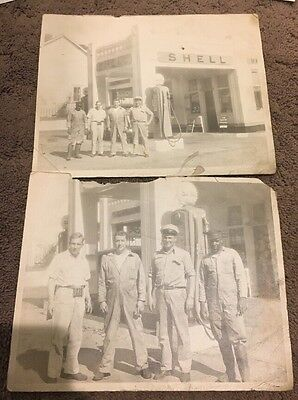 Vintage Early Shell Gas Station Photo 4 Men Uniform Military?