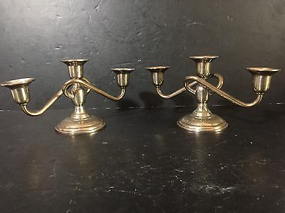Sterling Silver El-Sil-Co Pair 3 Lite Candelabra Candlesticks candle holders