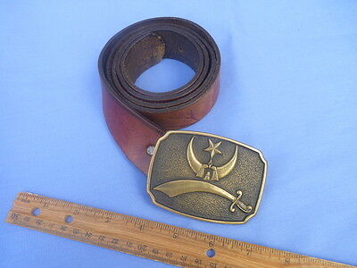Solid Brass 1978 USA BTS Brand Mason Belt Buckle and Leather Belt