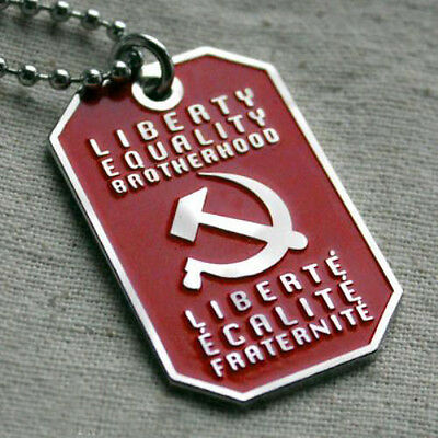 Liberty Equality Brotherhood Motto Socialist Pendant Dog Tag Ball Chain Necklace