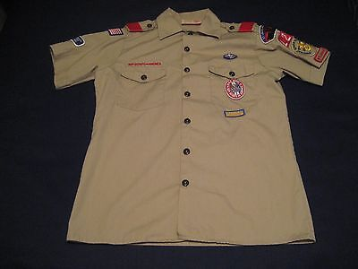Boy Scouts of America BSA Offical Tan Uniform Shirt W/Patches Men's Small