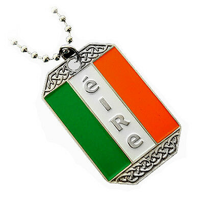 Irish Flag Ireland Pendant Necklace Dog-Tag Ball Chain Nickel Free Metal Éire