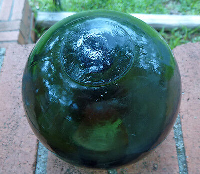 "5"" Antique BLOWN GLASS JAPANESE FISHING FLOAT~OLIVE GREEN"