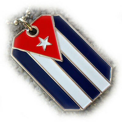 Cuba Flag Pendant Necklace Cuban Heritage Dog-Tag Ball Chain Cubana Bandera