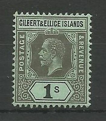 Gilbert & Ellice Islands 1912-24 SG20 1/- Black/Green Mounted Mint
