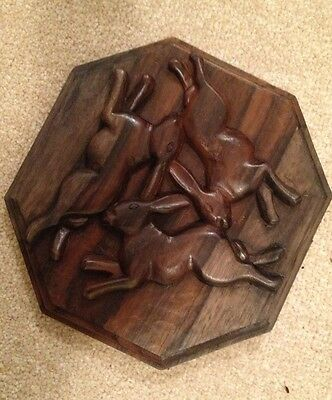 Hand Carved Wooden Plaque Hares Fertility