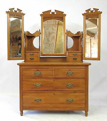 Antique Edwardian Satinwood Dressing Chest - Delivery Option Available.