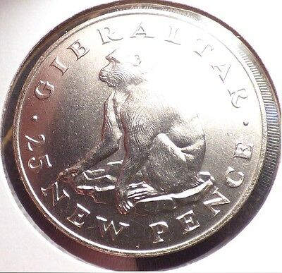 Gibraltar 25 New Pence 1971, XF/AU Coin w/ Barbary Macaque, Monkey, KM 5