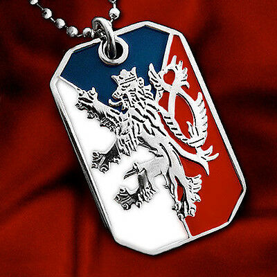Czech Flag Pendant Necklace Bohemian Lion Crest Dog-Tag Ball Chain Nickel Free