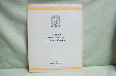 1977 Christie's Auction Catalogue Important Chinese Jades & Hard Stone Carvings