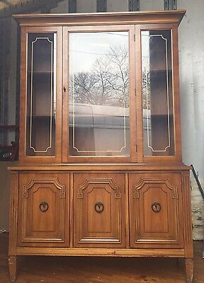 Vintage Provincial Walnut China Cabinet