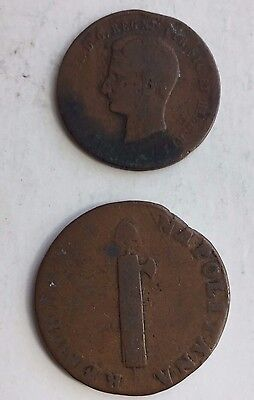 1859 Italy 2 Tornesi And Naples Quattro Tornesi Two Coin Lot