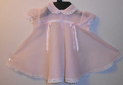 Vintage Pink With White Polka Dots  Sheer Chiffon Baby's Dress 3-6 Mos.