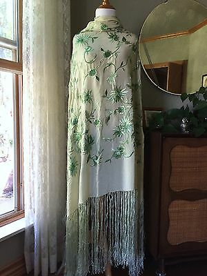 Antique Piano Shawl Green Silk Embroidered Fringe Vintage Art Deco 20s Canton