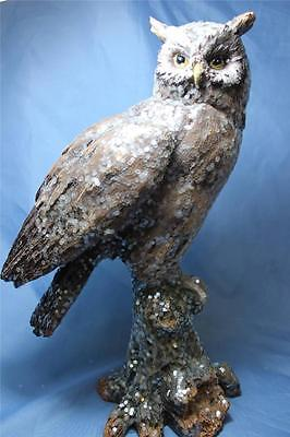New X Large Sparkle Realistic Wise Barn Hoot Owl Statue Figurine Sculpture 15""