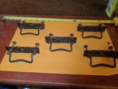 Set of Five Ornate 3 in. on Center Swing Handle Drawer Pulls
