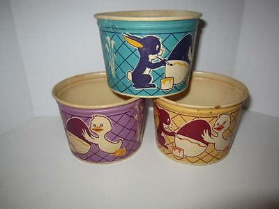3 Vintage Lily Cottage Cheese Waxed Containers Easter Joy Ride Design No Lids